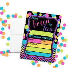 13th Party Invitations Neon Polka Dot 13th Birthday Party Invitations