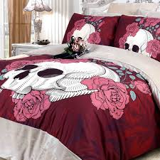 maroon rose red and white skull print with victorian rose y and romantic hipster style flannel girls full queen size bedding sets