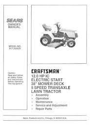 craftsman garden tractor manual 917 254520