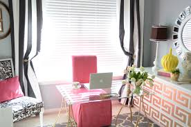 Decorations : Interesting Black And White Striped Curtains For Home Office  With Brown Table Lamp And Glass Office Desk Idea Make Your Rooms Great with  ...
