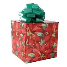 detail festive poinsettias gift wrap