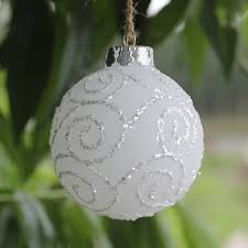 Frosted White Glass Balls , Christmas Ornaments with Silver Coulds lines  design ,