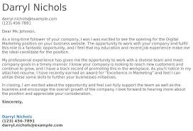 Digital Marketing Cover Letter Examples Samples Templates