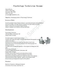 Psychology Resume Template Med Assistant Info