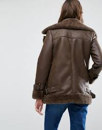 warehouse faux shearling aviator jacket brown women jackets warehouse dresses debenhams