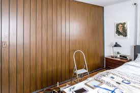 diy faux mid century paneling using