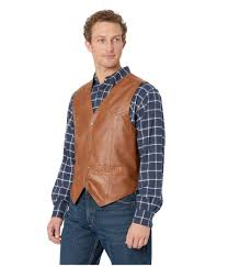 scully brown leather vest for men view fullscreen