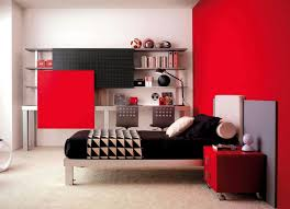 Adorable Teenage Bedroom Decorating Ideas For Boys Featuring Red Impressive Computer Bedroom Decor Design
