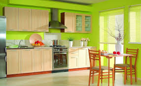 good lime green wall paint color of contemporary kitchen design featuring unfinished brown wooden kitchen cabinets with beige marble countertop as well as