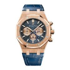 audemars piguet blue dial mens 18k rose gold leather watch 26331or oo d315cr 01 available at diamond source nyc