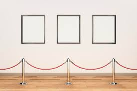 Horizontal Photograph - Gallery Wall, Rope Barrier And Empty Frames by Jon  Boyes