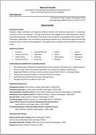 Material Handler Resume Experience Material Handler Resume Gale