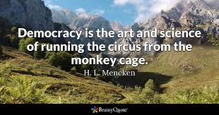 h l mencken quotes brainyquote democracy is the art and science of running the circus from the monkey cage
