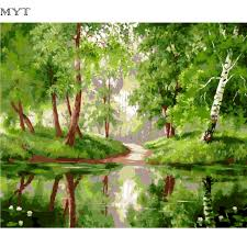 spring landscape painting by numbers diy digital oil paintings on canvas decor coloring by numbers abstract