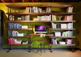 office book shelves. Industrial-pipe-shelving-Home-Office-Industrial-with-bookcase-bookshelves -green-walls-rustic-wood-ceiling-wooden-desk Office Book Shelves A