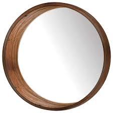 huckins round wall mirror brown