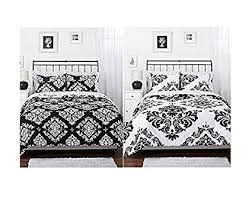 Amazon.com: Black White Damask Reversible Girls Teens Full Comforter ...