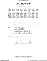 mr blue sky piano sheet music free orchestra mr blue sky sheet music for guitar chords