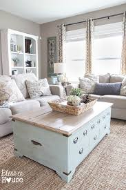 light blue coffee table with internal storage