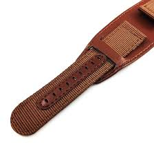 raymond weil compatible brown leather nylon cuff watch band strap army military style steel buckle 6052