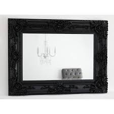 Ornate Black Rectangular Mirror 53 x 43 Ella William Wood Mirrors
