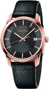 men s calvin klein watches watchtag com calvin klein rose gold tone leather men s watch k5s316c3
