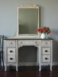 bedroom furniture white wooden vanity table decor with rectangle mirror and ornate hand carved ornaments antique