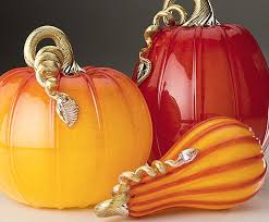 ruby gold collection of glass pumpkins and squash