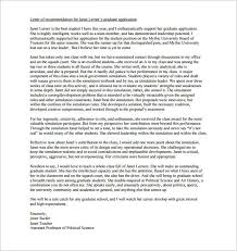 Writing A Letter Of Recommendation For Graduate School
