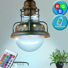 Rost Leuchte Hänge Wohnraum Glas Käfig Lampe Pendel Led Rgb