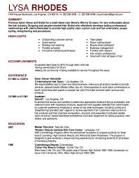 Salon Assistant Job Description Resume