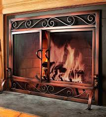 glass fireplace screen free standing glass door free standing fireplace screen with doors