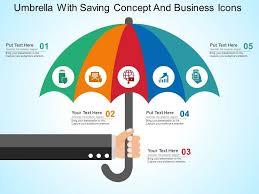 Umbrella Organization Chart Umbrella With Saving Concept And Business Icons Flat