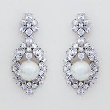 crystal chandelier earrings pearl center