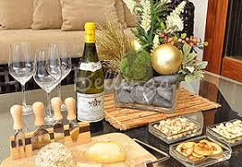 Wine cheese board on glass coffee table for Christmas party