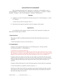 Subcontractor Agreement Format Subcontractor Short Form Contract Contractor And Employee