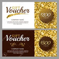 Jewelry Flyer Vector Gift Voucher With Golden Sparkling Pattern Business Card