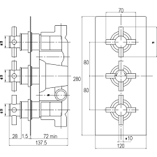 ultra volt triple concealed thermostatic shower valve with built in diverter measurements 184 0600