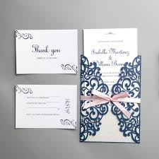 modern navy blue laser cut wedding invitations with pink bow and silver backer ws022