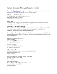 Human Resource Resume Examples Resources Objective Example Temp