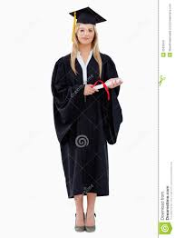 student in graduate robe holding her diploma stock image image  royalty stock photo
