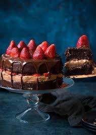 chocolate birthday cake with strawberries. Strawberry Chocolate Cake Recipe In Birthday With Strawberries