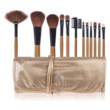 professional 12 piece natural goat and badger cosmetic brush set with pouch gold amazon shany studio