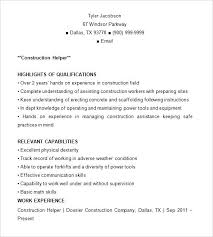 Construction Worker Resume Examples And Samples Worker Resume