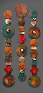 Circle Sticks with Red Square by Rhonda Cearlock (Ceramic Wall Sculpture