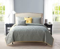 textural quilt grey and yellow bedding