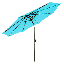 Blue Patio Umbrella With Lights Trademark Innovations 9 Ft Deluxe Solar Powered Led Lighted Patio Umbrella In Teal