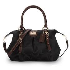 Coach Follow The Latest Fashion To Wear Coach Madison Kelsey In Signature  Medium Black Satchels ATO With High Quality And New Style!