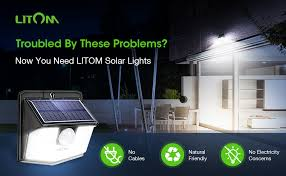 LITOM <b>Solar Lights Outdoor</b>, IP67 <b>Waterproof Solar</b> Motion Sensor ...