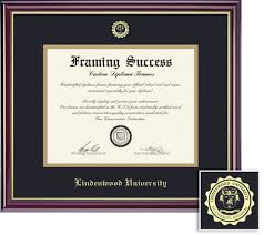 lindenwood university st charles campus bookstore lindenwood  lindenwood university doc diploma black and gold double mat in windsor